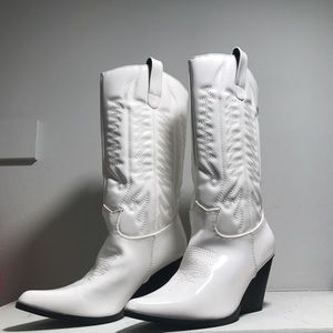White Calf Length Cowboy Boots